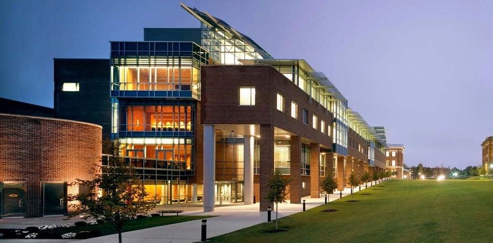 Center for Biotechnology & Interdisciplinary Studies building lit at night