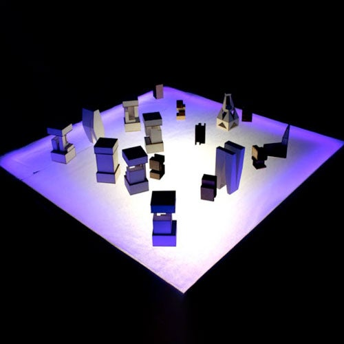 3-D printed objects on light table