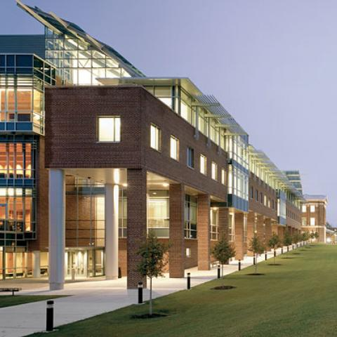 Center for Biotechnology and Interdisciplinary Studies building lit at night