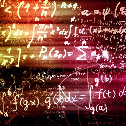 Mathematical formulas floating over a colorful background