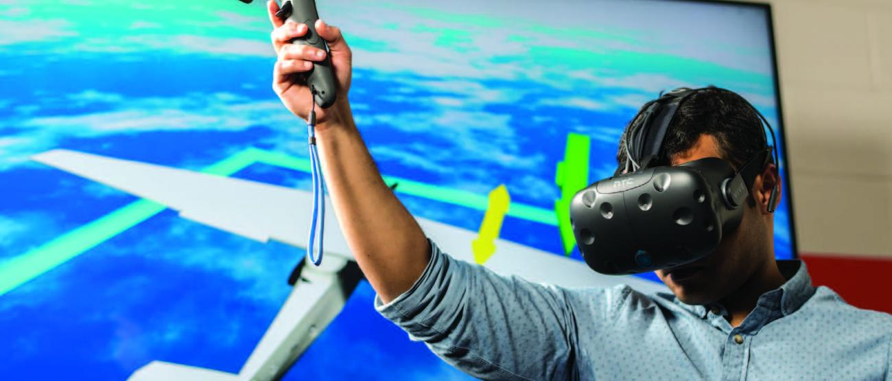 Person using virtual reality device