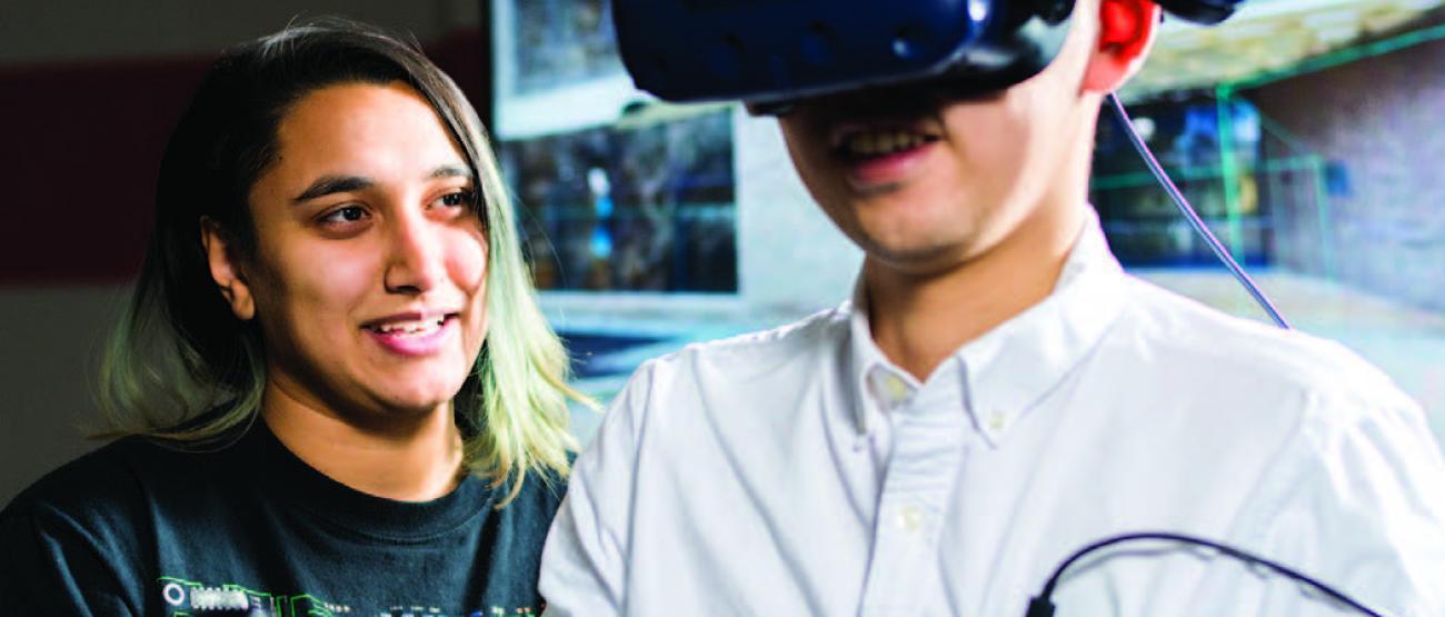 Person using Virtual Reality technology.