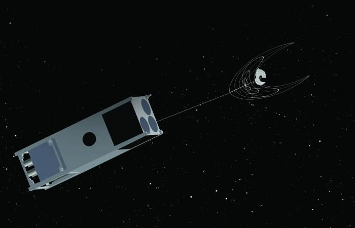 A digital view of OSCaR, semi-autonomous trash collector for space.